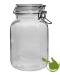 Vierkante glazenpot van 2 liter met klemsluiting