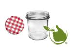Jampotten 346 ml met twist-off deksel rood/wit (geblokt)