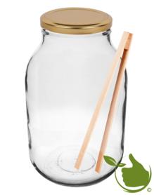 Glastopf 3 Liter inkl. Deckel & Holzzange