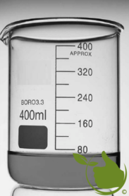 Becherglas 400 ml graduiert, niedriges Modell hitzebeständig