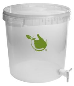 Transparenter Gärbehälter von 30 liter mit Deckel und Ablasshahn