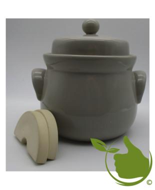 Mini-Gärtopf latte mit Deckel und Steinen 1Ltr.