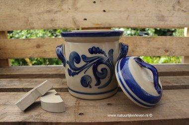 Gärtopf Grau-Blau mit Deckel und Steinen 2 Liter