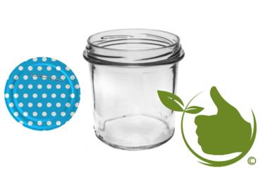 Marmeladengläser 346 ml mit twist-off deckel Blau (dot-design) pro 6 Stück