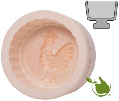 Butterform rund für 250g Butter – Motiv: Hahn