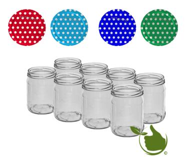 Marmeladengläser 500 ml mit twist-off deckel (weißer Punkt sortiert) pro 8 Stück