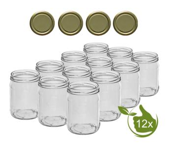 Glazenpotten 500 ml met twist-off deksel goud 12 stuks